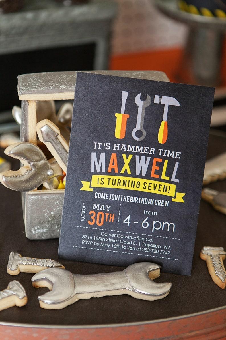 Construction Birthday Invitation Theme Hammer