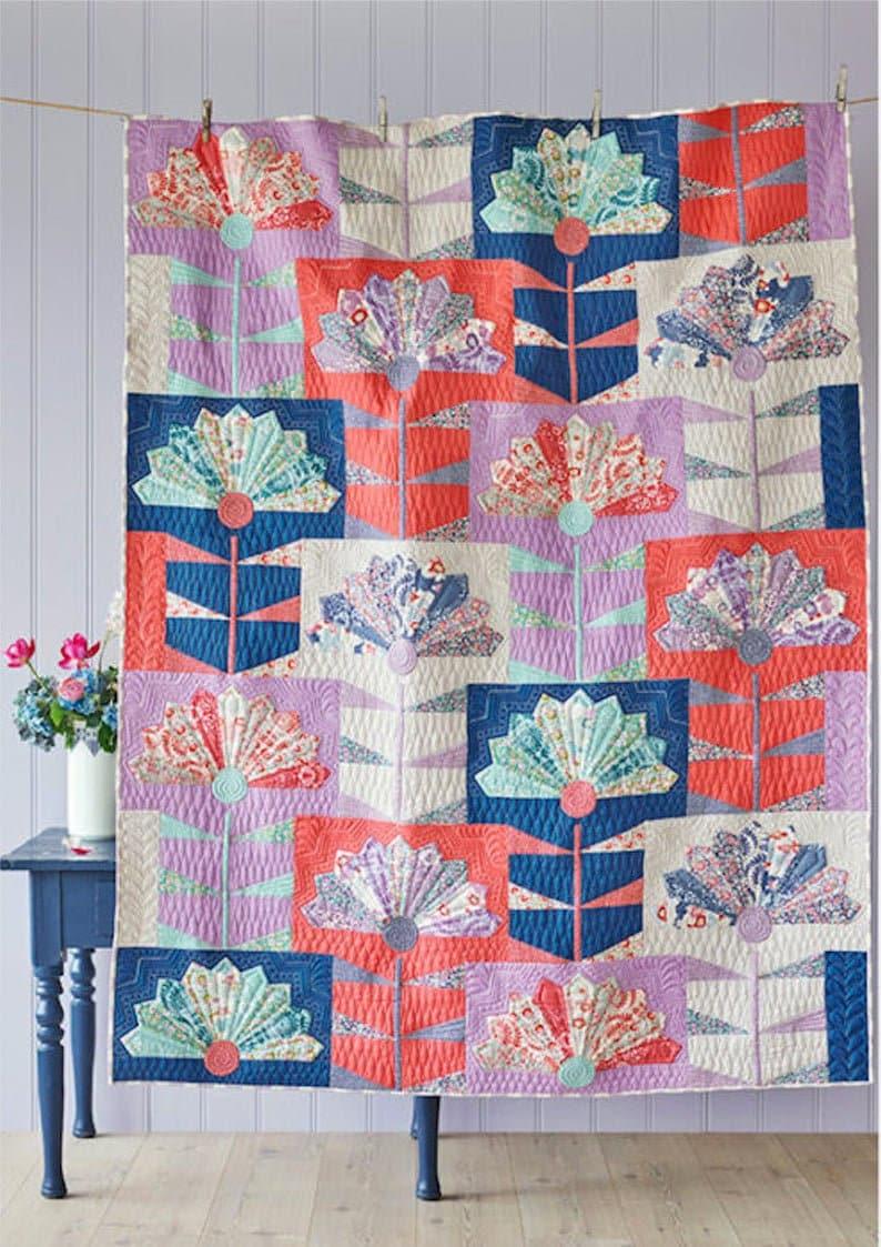 Tilda~Fan Flower Blue Quilt Kit Fan Flower Featuring LazyDays by Norwegian designer Tone Finnanger