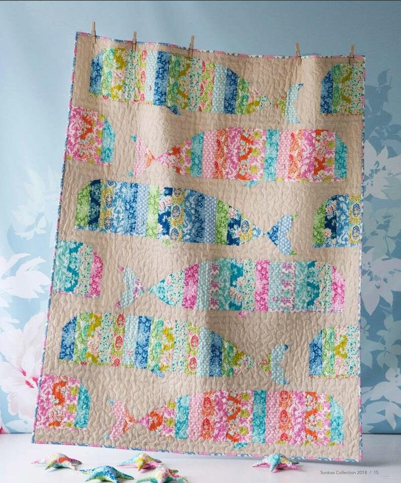 Rare TILDA~ Whale Quilt Kit Featuring Sunkiss fabric line