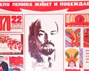 Soviet Propaganda Desktop Souvenir Vintage 1933 USSR Soviet Russian Desk Table Communist Propaganda Decor Lenin