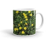 White Glossy Mug with dandelions flower