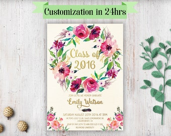 printable graduation invitation graduation invite template graduation invitation printable graduation party invitation template floral gold