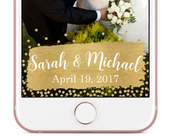Custom Wedding Snapchat Geofilter / Gold Snapchat Wedding Geofilter / Gold Custom Snapchat Filter, Wedding Geofilter, Custom Snapchat Filter