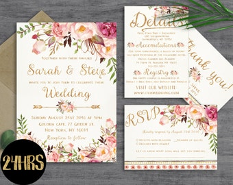 Floral Wedding Invitation Template Printable Invites Set Invitations