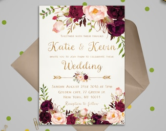 Wedding invitations paper etsy floral wedding invitation template wedding invitation printable wedding invites set wedding invitations set printable printable invitations stopboris Image collections