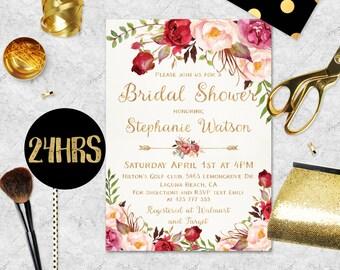 Bridal Shower Invitation  Printable Boho Bridal Shower Invitation Template Download Printable Bridal Shower Invitation Floral Watercolor Diy