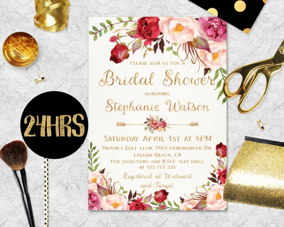 Bridal Shower Invitation Printable Boho Bridal Shower Etsy