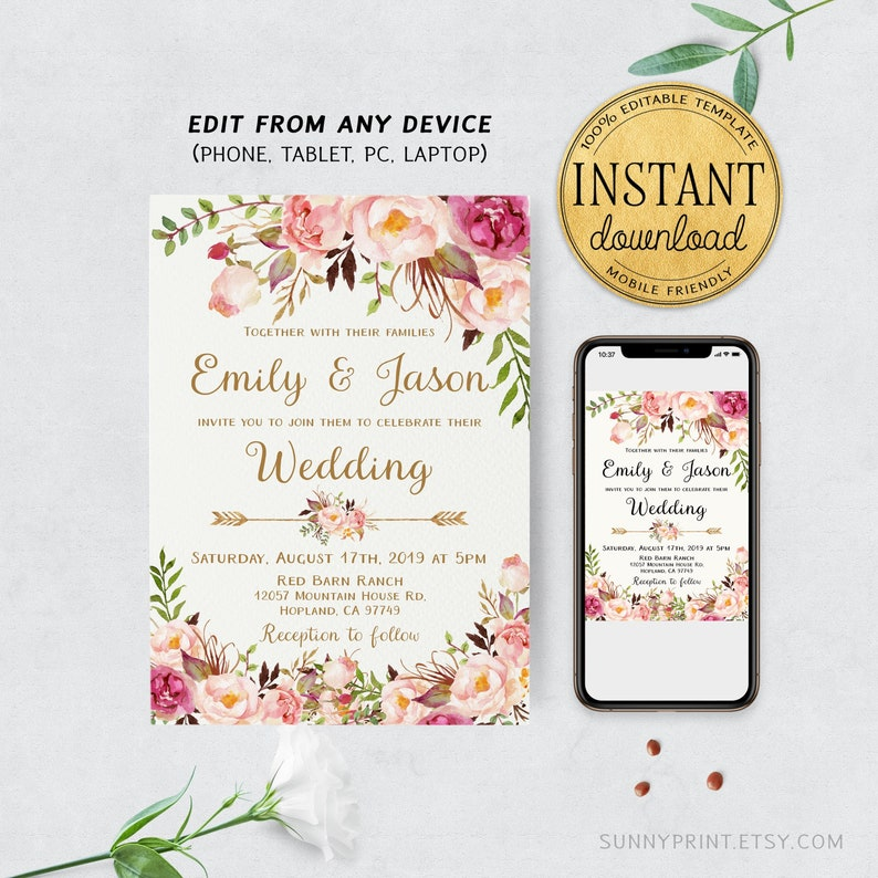 Floral Wedding Invitation Template Greenery Printable Invites Instant Download Sd18
