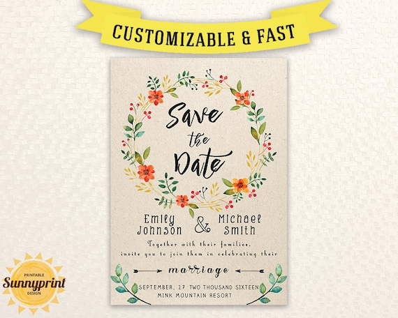 printable save the date template save the date printable etsy