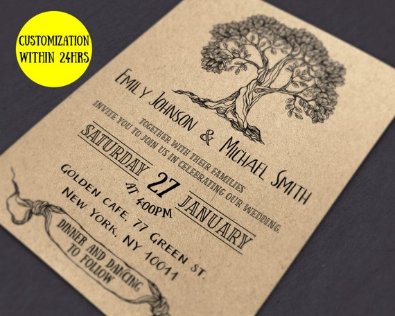 Rustic Wedding Invitation Template Download Wedding Invites Etsy