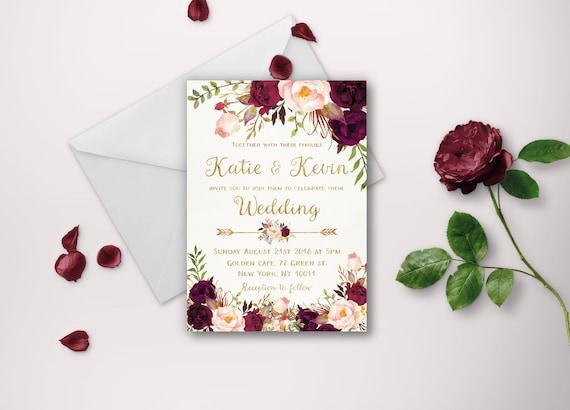 Downloadable Wedding Invitation Templates: Floral Wedding Invitation Template Wedding Invitation