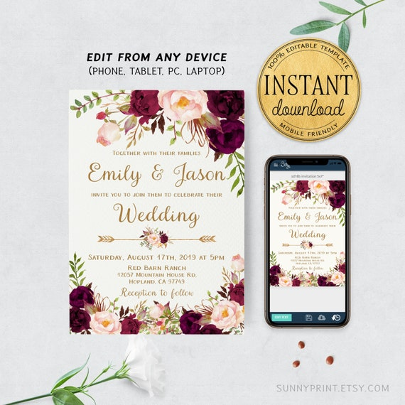 picture about Etsy Wedding Invitations Printable named Floral marriage ceremony invitation template Wedding day invitation Printable marriage ceremony invitations Marriage invitation established printable Prompt obtain #sd18b