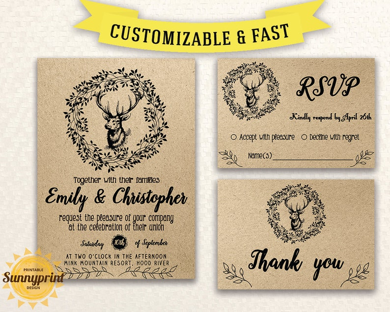 photo about Printable Rustic Wedding Invitations referred to as Rustic marriage ceremony invitation template - Kraft Wedding ceremony invitation template rustic - State marriage invitation - Printable rustic wooden invite -