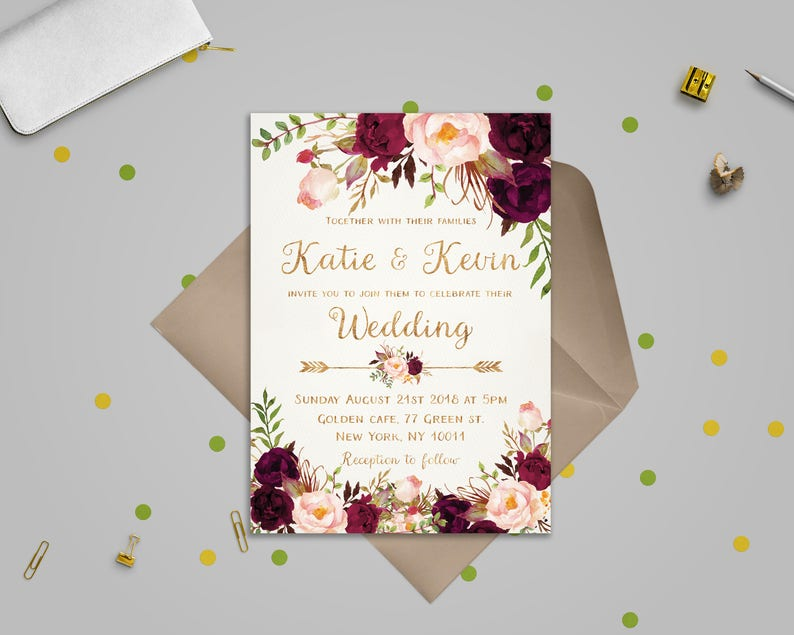 Wedding Invitation Template.Wedding Invitation Template Burgundy Gold Wedding Invitation Printable Wedding Invites Set Floral Invitations Printable Sd18b