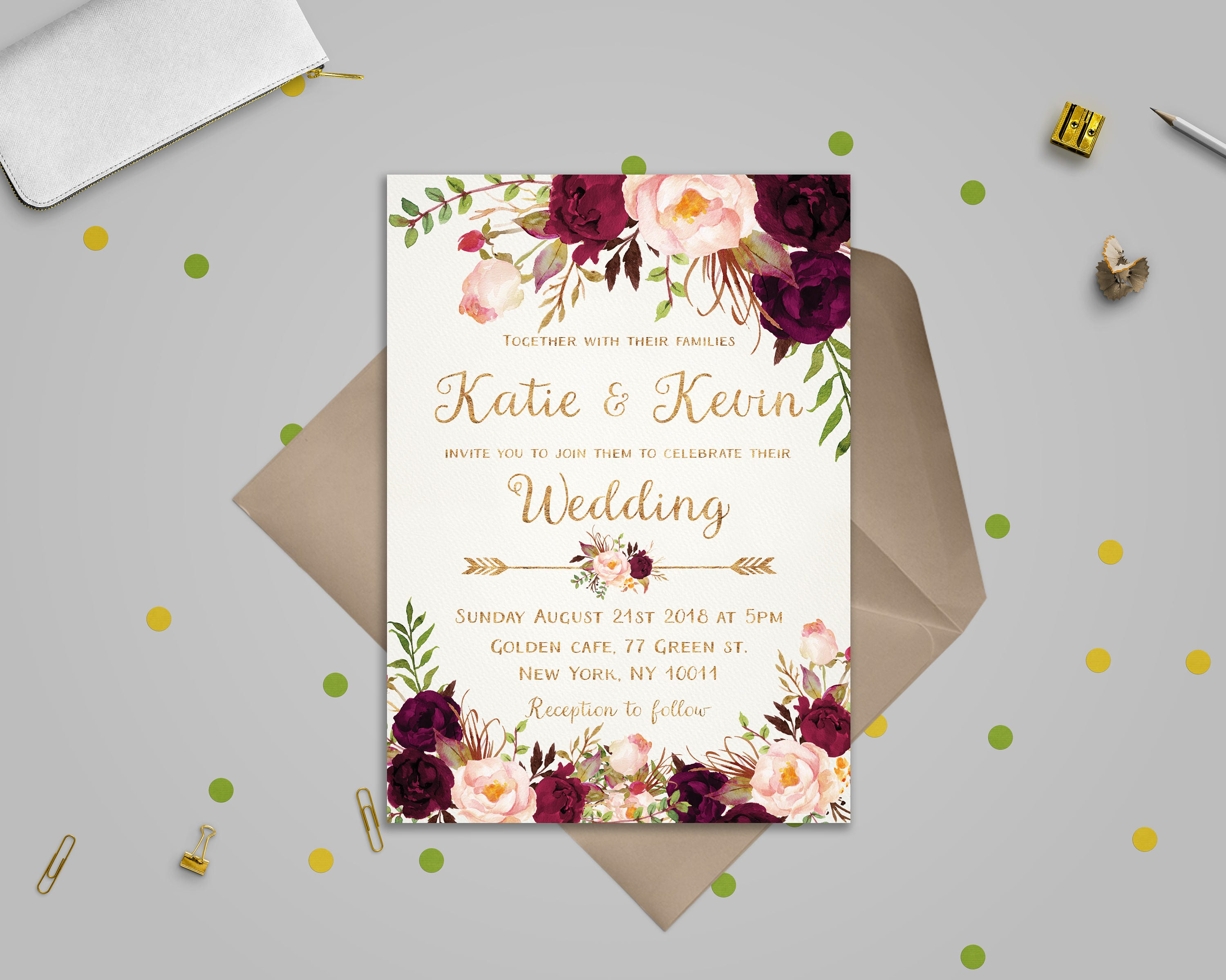 Floral wedding invitation template Wedding invitation | Etsy
