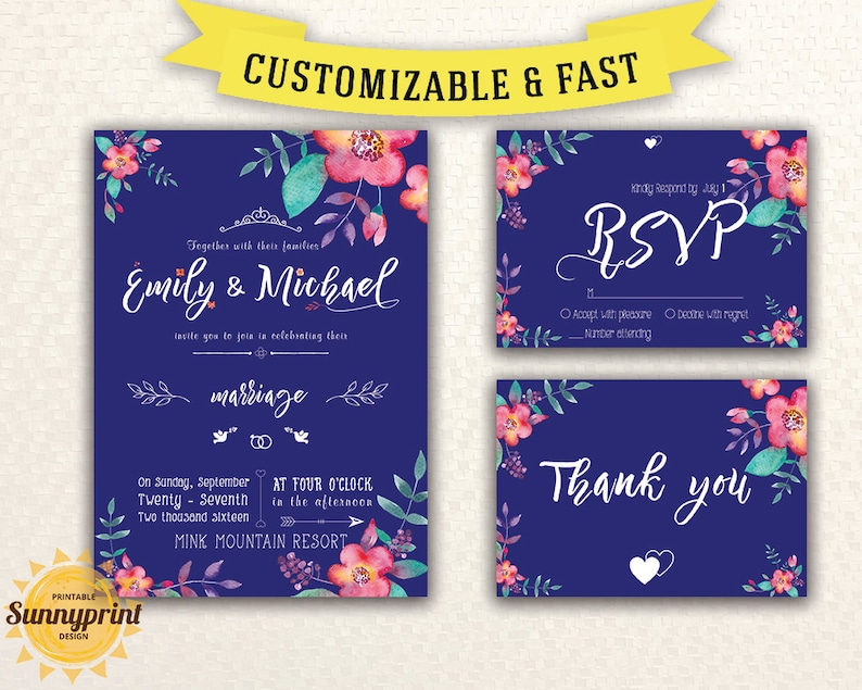 Wedding Invitation Template Download Royal Blue Save The Date Printable Invites Rustic