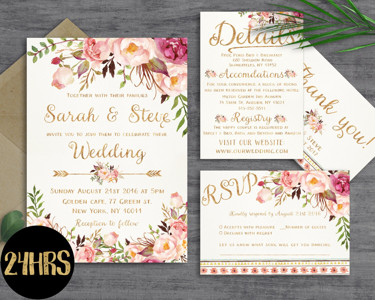 One Page Wedding Invitations: Floral Wedding Invitation Template Wedding Invitation