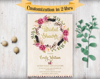 Floral Bridal Shower Invitation Printable Boho Bridal Shower Invitation Template Download Printable Bridal Shower Invitations Watercolor Diy