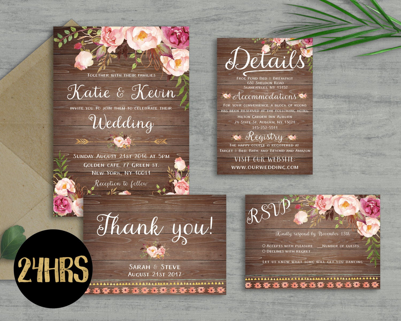 Wedding invitation template Wedding invitation floral | Etsy