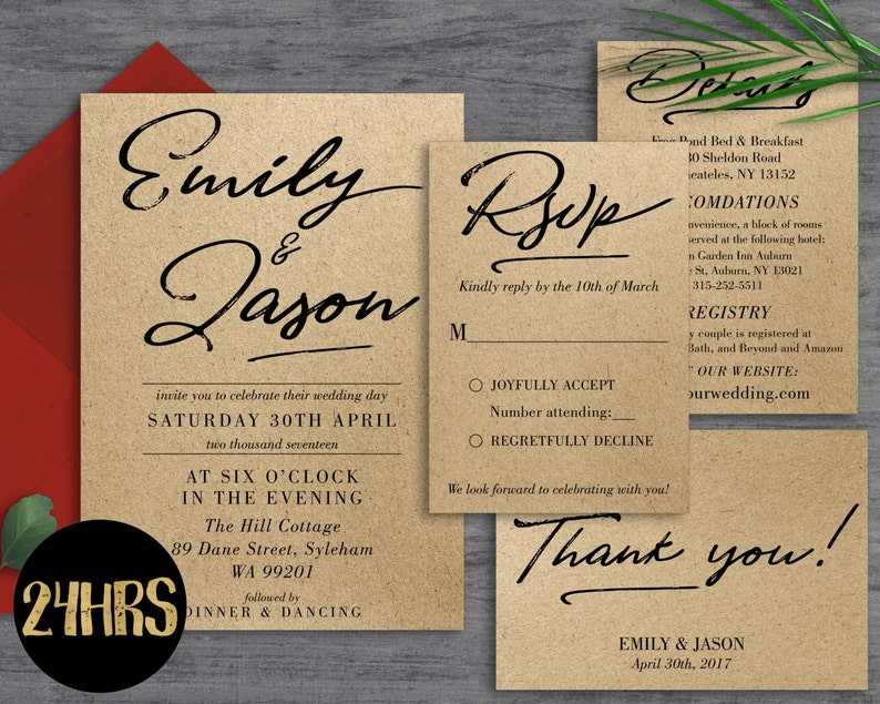 Wedding Invitation Template Download Printable Set
