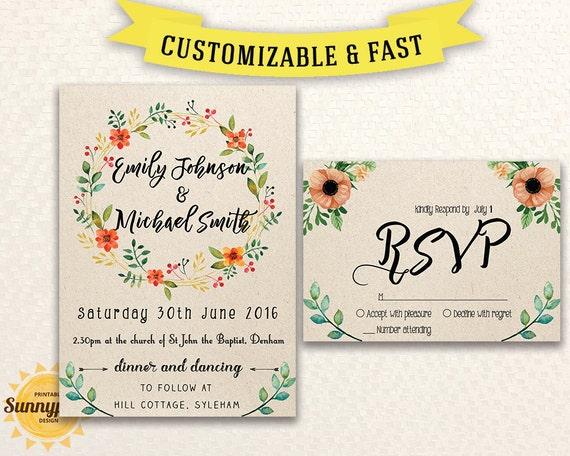 Free Rustic Wedding Invitation Templates: Printable Wedding Invitation Template Wedding Invitation