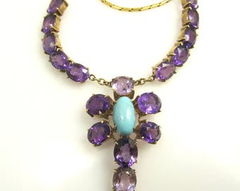14k Yellow Gold Necklace With Amethyst And Turquoise, Circa 1930.