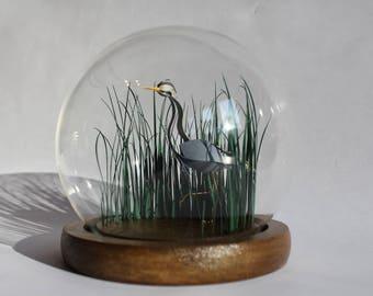 Horticulture. Paper-cut Heron Bell Jar Sculpture. 2018