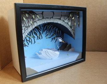 The Lone Swan. Paper-cut Sculpture. 2016