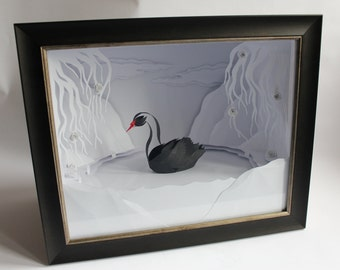 Eerie Elegance.Framed Paper-cut Swan Sculpture. 2017.