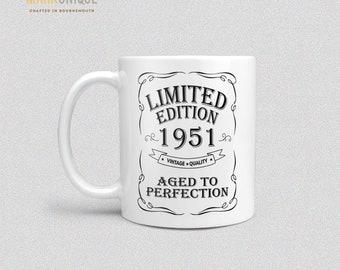 Or Métallique tasse de café 70th Anniversaire Cadeau 1951 Année de la légende des Cadeaux Papa