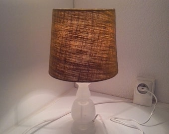 Vintage white glass and green shade Bengali foot lamp DISCOUNT
