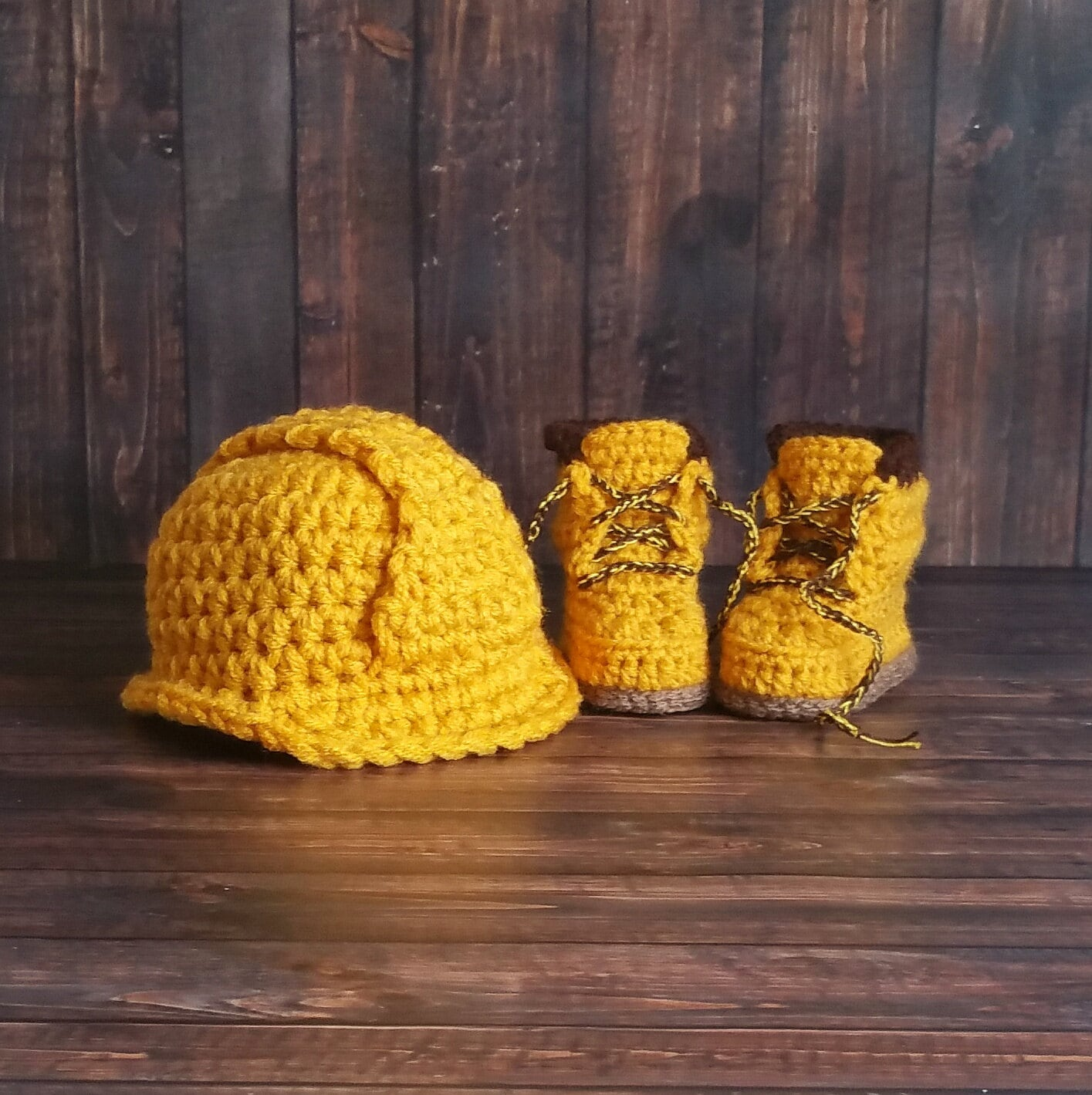 Baby Construction Set, Boots and Hard Hat Set, Construction Baby Boy Work Shoes, Crochet Baby Booties, Work Boots, Baby Construction Boots - Newborn Slippers 4ae707