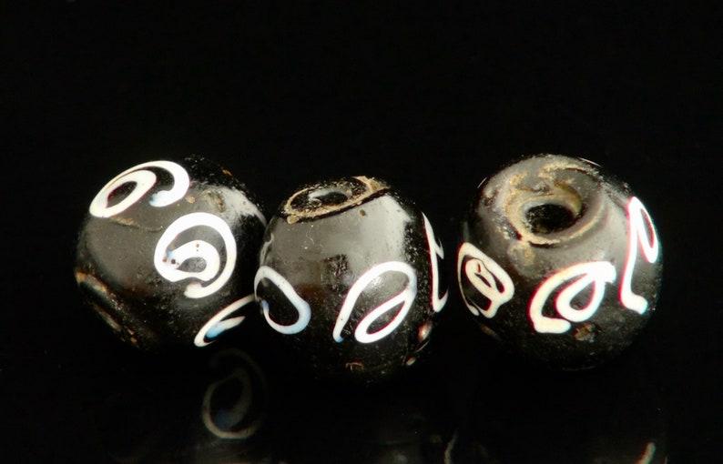 Antique Venetian fancy spiral black bead V 795