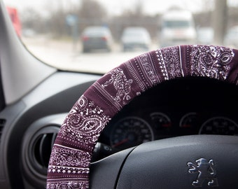 Elephant steering wheel cover for women, Elephant lover accessories gifts, boho steering wheel cover hippie fuzzy aztec lilly pulitzer