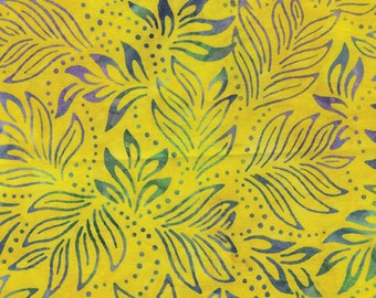 Bali Color Pop - 7091-33 - Lily Leaves Bright Yellow for Benartex - Triple-Dyed