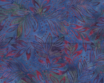 Bali Color Pop - 7091-52 - Lily Leaves Blue & Pink for Benartex - Triple-Dyed