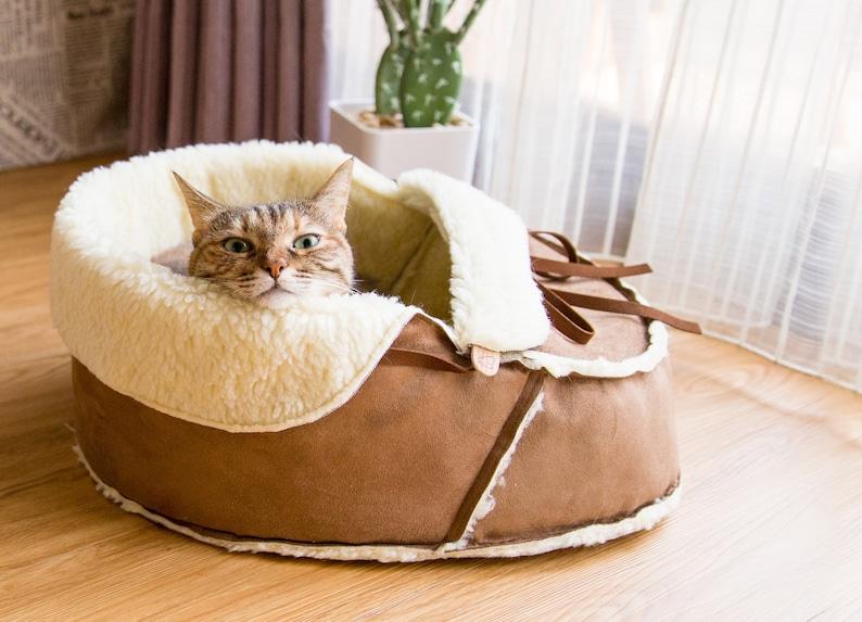 Sherpa Moccasin Cat Bed in Mocha: Unique Modern cat furniture image 0