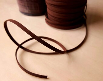 "Brown Faux Suede Cord, Thick Faux Suede Ribbon, Faux Suede Trim, 3/16"" Wide and 1/16"" Thick, 5 yards per order, Necklace, Jewelry Supply"