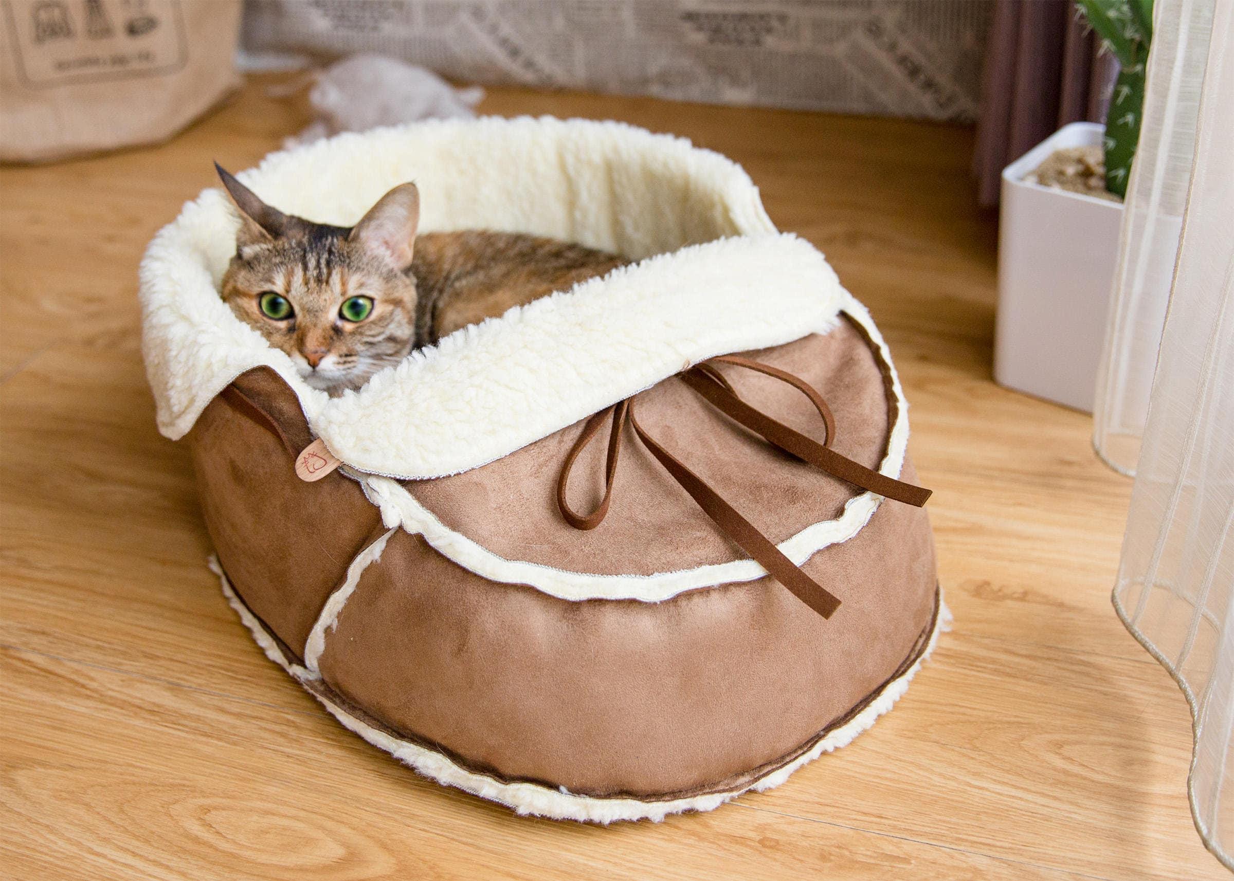 Sherpa Moccasin Cat Bed In Mocha Suede Modern Cat Furniture Etsy