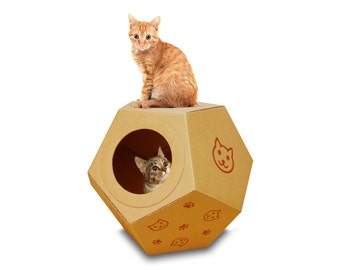 Rocking Ball Cat House, Cardboard Playhouse, Cat Furniture, Pet Furniture, Cat Perch, Cat Cave, Cat Gift, Rabbit Toy,DIY, Cat Toy, Cat House