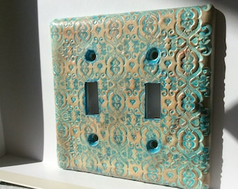 Double Switch plate in Gold and Turquoise light switch cover