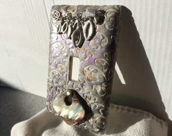Chain Switchplate with Iridescent Gold and Purple light switch cover