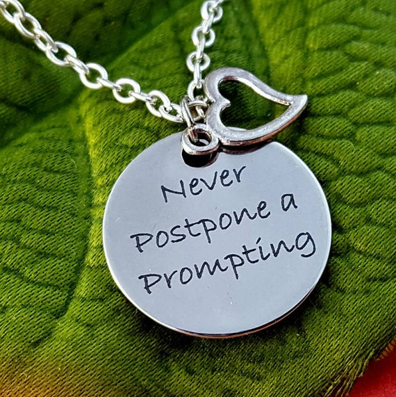 LDS Jewelry, Never Postpone a Prompting, Heart Charm Necklace, Gifts for LDS YW Girls Leaders, lds Mormon Charms, Pres Thomas S Monson Quote