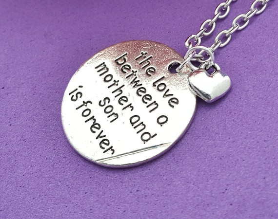 Mother Son Jewelry, To Mom from Son Valentine's Day Gift, Love Between a Mother and Son is Forever Charm Necklace, Mother's Day Birthday