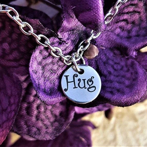 Jewelry for Granddaughter Daughter, Hug Charm Necklace, Gift for Mom Grandma, Fun Word Charms, Hugs and Kisses, XO Gift, Mother's Day Gift