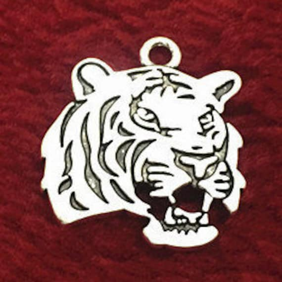 CLEARANCE 2-10 piece Tiger Charm, Silver Bronze Tiger Head Charms for Jewelry, 24 x 27mm Tiger Charms, Tiger Mascot Jewelry, Tiger Gifts