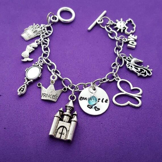 CUSTOM Charm Bracelet for Girls, Little Girl Fairy Tale Gift Jewelry, Birthday Birthstone Gift, Princess Castle Unicorn Mermaid Butterfly