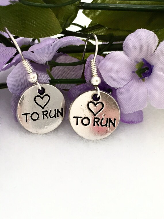 Gifts for Runners, Running Charm Earrings, Love To Run Charm Jewelry, Runner Earrings, Gifts for Coach Team, Running Jewelry, Sports Charm