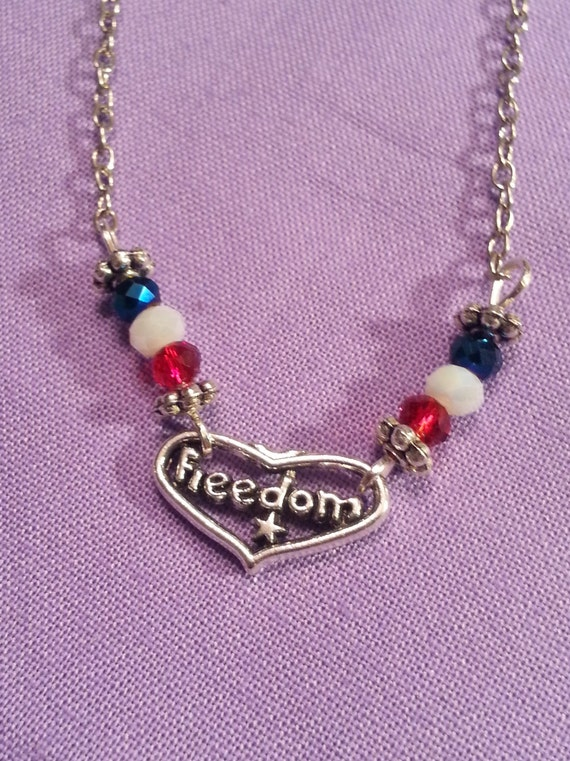 Patriotic Jewelry, Military Wife Mother Gifts, Fourth of July Necklace, Freedom Necklace, Red White Blue USA Jewelry, American Freedom Charm