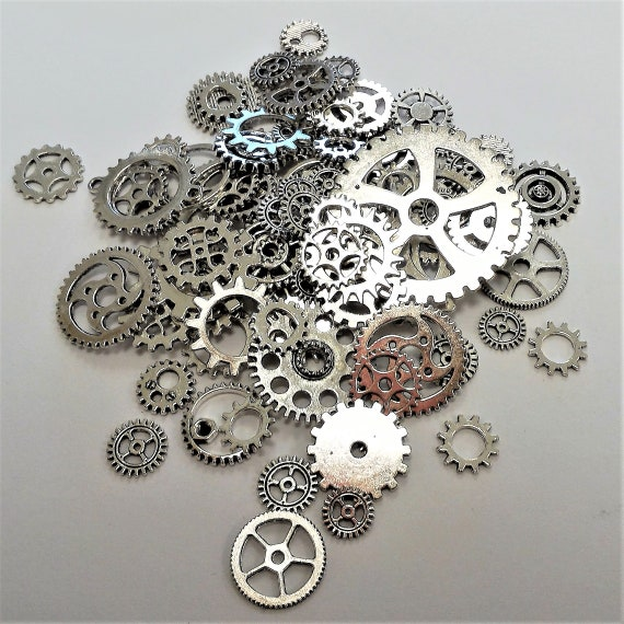 "CLEARANCE 82 pcs Steampunk Clock Gears Cogs Charms Assorted Mixed Metal Bike Steampunk Jewelry Silver Bicycle Watch Gears 1/2"" to 1 5/8"""